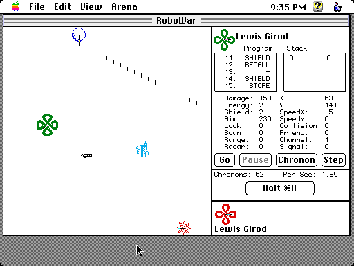 RoboWar debug screenshot